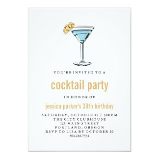 Trendy Modern Blue and Gold Cocktail Party Card
