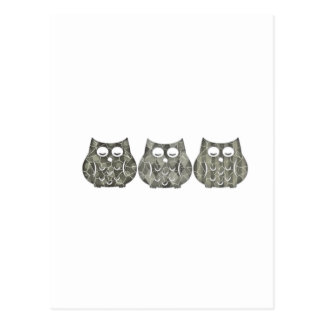 Trendy modern  cute funny owls postcard
