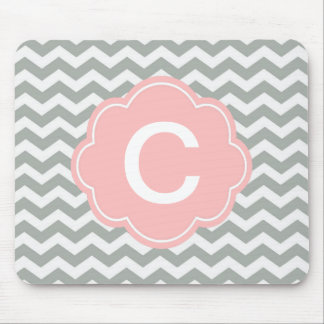Trendy, modern, elegant grey chevron monogram mouse pad