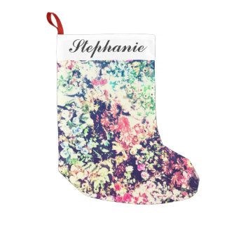 Trendy Modern Floral Collage Small Christmas Stocking
