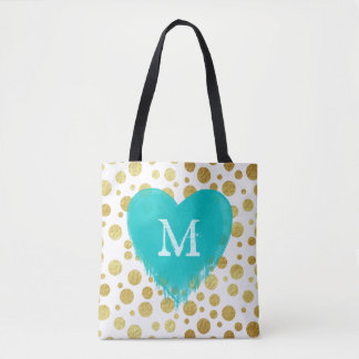 Trendy modern gold dots and monogram tote bag