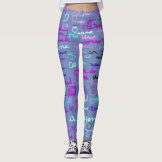 Trendy Modern Graffiti Love Pattern on Blue Grey Leggings