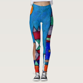 Trendy Modern London Nights Watercolor Art Leggings