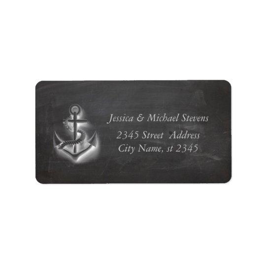 Trendy modern nautical anchor chalkboard label