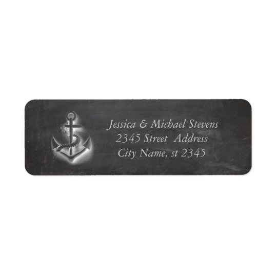 Trendy modern nautical anchor chalkboard return address label
