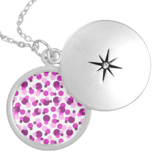 Trendy Modern Pink and Purple Polka Dot Pattern Round Locket Necklace