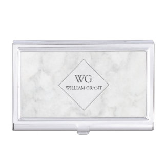 Trendy Modern Professional Monogrammed Marble Business Card Holder