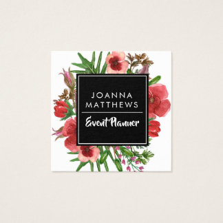 Trendy Modern Red Floral Square Business Cards