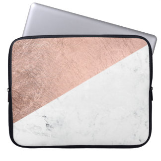 Trendy modern rose gold white marble color block laptop sleeve