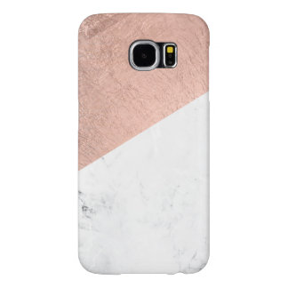 Trendy modern rose gold white marble color block samsung galaxy s6 cases