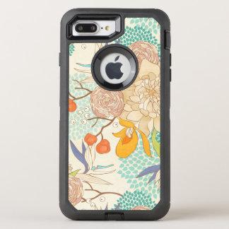 Trendy Modern Rose Peony Flower Pattern OtterBox Defender iPhone 8 Plus/7 Plus Case