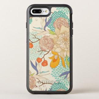 Trendy Modern Rose Peony Flower Pattern OtterBox Symmetry iPhone 8 Plus/7 Plus Case