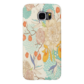 Trendy Modern Rose Peony Flower Pattern Samsung Galaxy S6 Cases