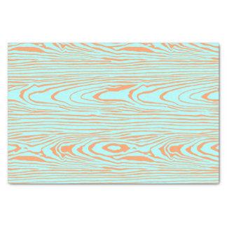 Trendy modern teal orange wood grain pattern tissue paper
