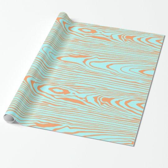 Trendy modern teal orange wood grain pattern wrapping