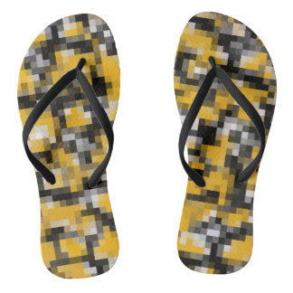 Trendy Modern Yellow Black Mosaic Pattern Flip Flops