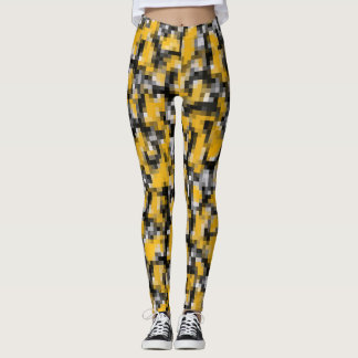 Trendy Modern Yellow Black Mosaic Pattern Leggings