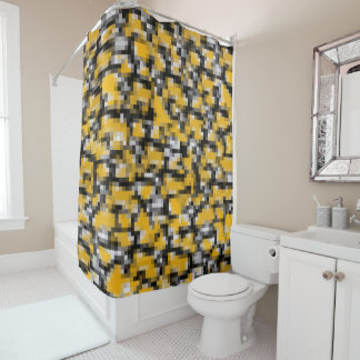 Trendy Modern Yellow Black White Mosaic Pattern Shower Curtain