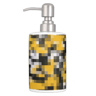 Trendy Modern Yellow Black White Mosaic Pattern Soap Dispenser And Toothbrush Holder