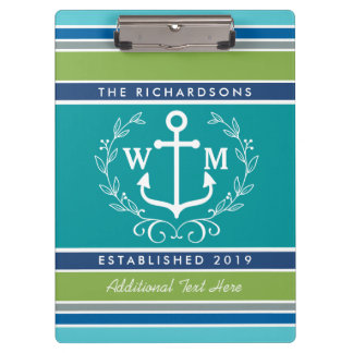 Trendy Monogram Anchor Laurel Wreath Stripes Aqua Clipboard