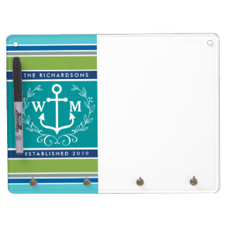 Trendy Monogram Anchor Laurel Wreath Stripes Aqua Dry Erase White Board