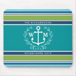 Trendy Monogram Anchor Laurel Wreath Stripes Aqua Mouse Mat