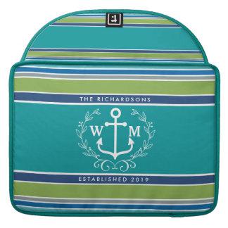 Trendy Monogram Anchor Laurel Wreath Stripes Aqua Sleeves For MacBooks