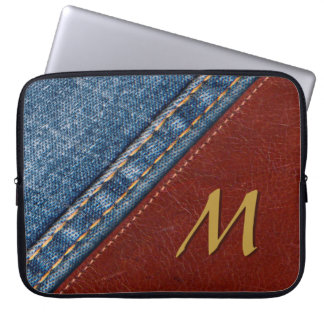 Trendy Monogram Denim and Leather Laptop Sleeve
