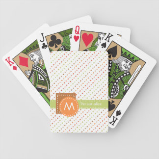 Trendy Monogram Dotted Stripes With Name Bicycle Playing Cards