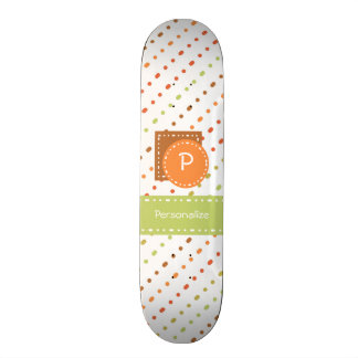 Trendy Monogram Dotted Stripes With Name Skate Board Decks