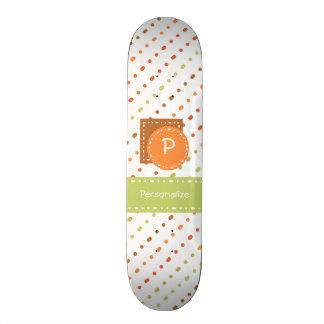 Trendy Monogram Dotted Stripes With Name Skate Board Decks