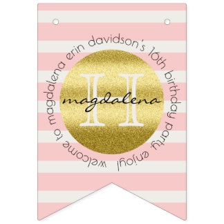 Trendy Monogram Gold Glitter Blush Pink Stripes Bunting