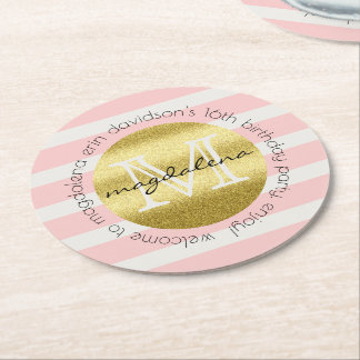 Trendy Monogram Gold Glitter Blush Pink Stripes Round Paper Coaster