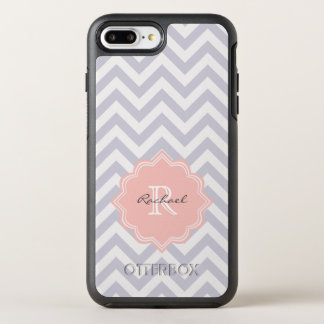 Trendy Monogram Gray Peach Chevron Pattern OtterBox Symmetry iPhone 7 Plus Case