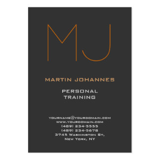 Trendy Monogram Grey Sport Personal Trainer Pack Of Chubby Business Cards