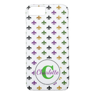 Trendy Monogram Mardi Gras Fleur De Lis iPhone 8/7 Case