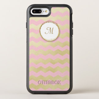 Trendy Monogram Pink and Chic Gold Chevron Stripe OtterBox Symmetry iPhone 7 Plus Case
