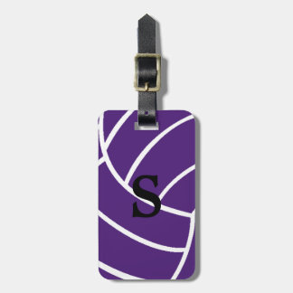Trendy Monogram Purple Volleyball Luggage Tag