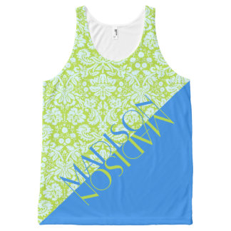 Trendy Monogram Resort Fashion Lime Green Blue All-Over Print Tank Top