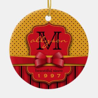 Trendy Monogram Retro Yellow Polka Dot Red Stripes Christmas Ornament