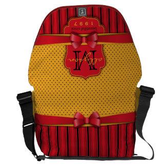 Trendy Monogram Retro Yellow Polka Dot Red Stripes Courier Bags