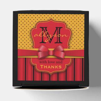 Trendy Monogram Retro Yellow Polka Dot Red Stripes Favour Box
