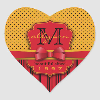 Trendy Monogram Retro Yellow Polka Dot Red Stripes Heart Sticker