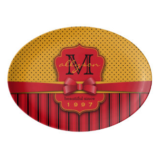 Trendy Monogram Retro Yellow Polka Dot Red Stripes Porcelain Serving Platter