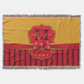 Trendy Monogram Retro Yellow Polka Dot Red Stripes Throw Blanket