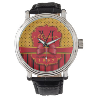 Trendy Monogram Retro Yellow Polka Dot Red Stripes Watch