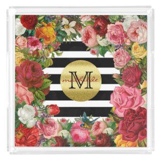 Trendy Monogram Stripes Roses Flowers Gold Glitter