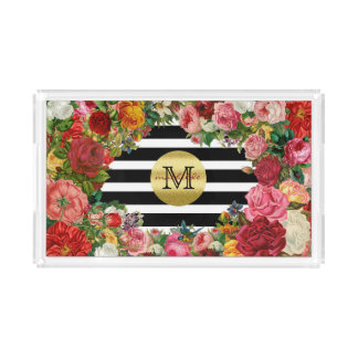 Trendy Monogram Stripes Roses Flowers Gold Glitter Acrylic Tray