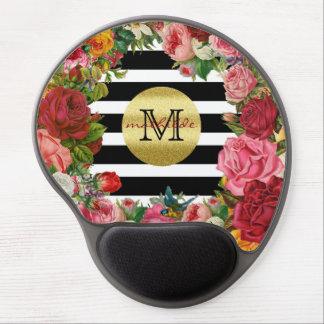 Trendy Monogram Stripes Roses Flowers Gold Glitter Gel Mouse Mat