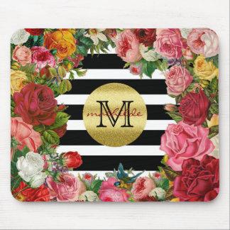 Trendy Monogram Stripes Roses Flowers Gold Glitter Mouse Mat
